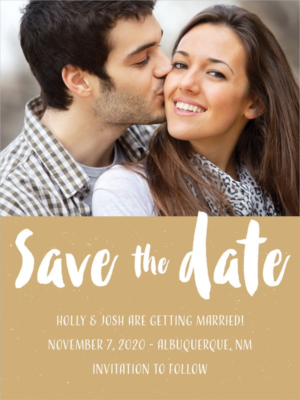 custom tall save the date cards - kraft - bonjour (set of 10)