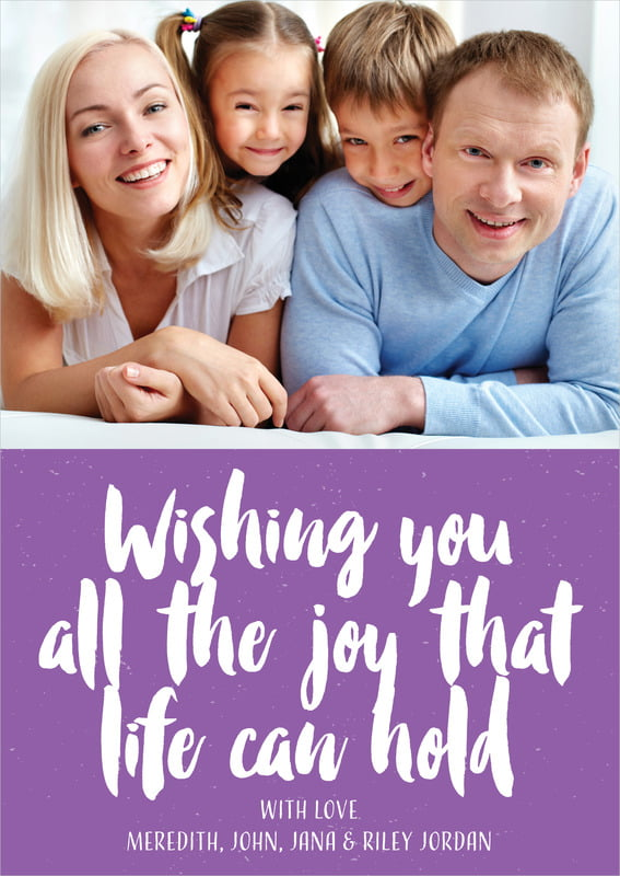 holiday cards - purple - bonjour (set of 10)