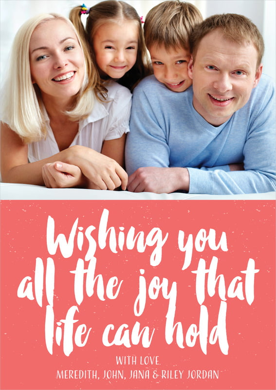 holiday cards - deep coral - bonjour (set of 10)
