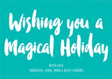 holiday cards - turquoise - bonjour (set of 10)