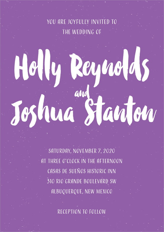 custom invitations - purple - bonjour (set of 10)
