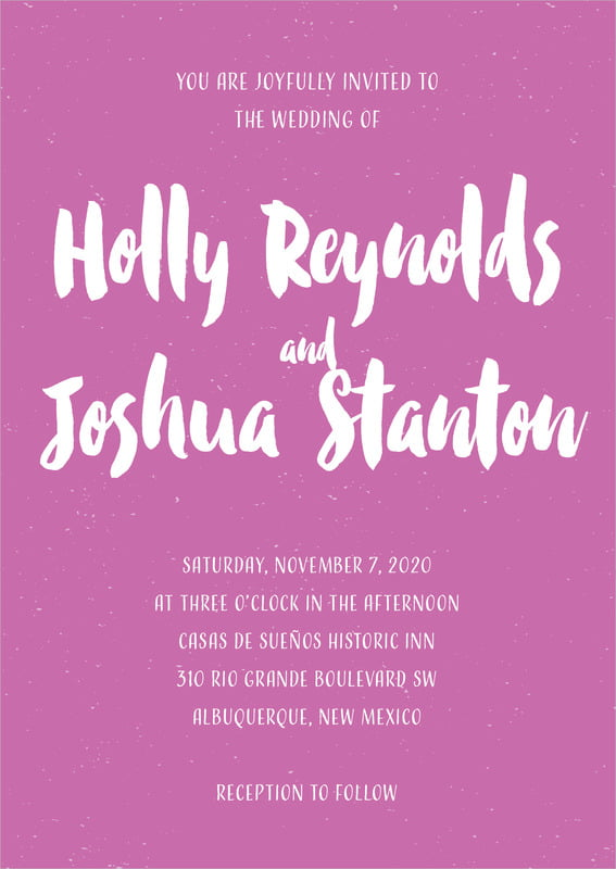 custom invitations - radiant orchid - bonjour (set of 10)