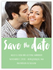 Bonjour Save The Date Card In Spring Green