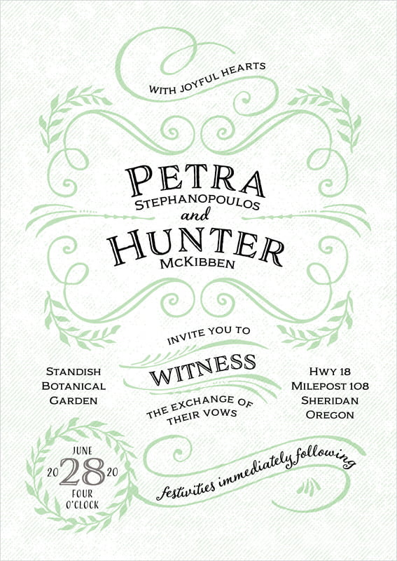 custom invitations - mint - joy of scrolls (set of 10)