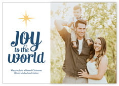 Joy To The World Photo Cards - Horizontal In Deep Blue
