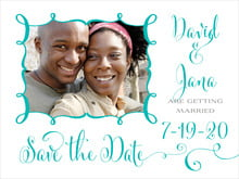 custom save-the-date cards - turquoise - jubilation (set of 10)
