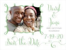 custom save-the-date cards - spring green - jubilation (set of 10)