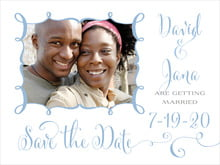 custom save-the-date cards - blue - jubilation (set of 10)
