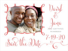 custom save-the-date cards - deep coral - jubilation (set of 10)