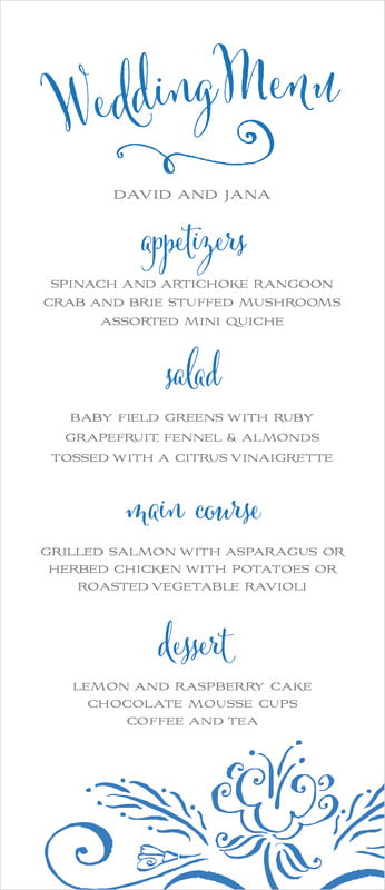 custom menus - cobalt - jubilation (set of 10)
