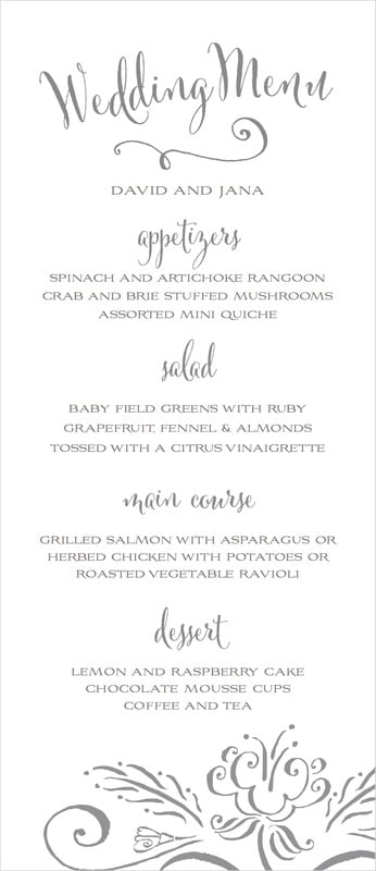 custom menus - charcoal - jubilation (set of 10)