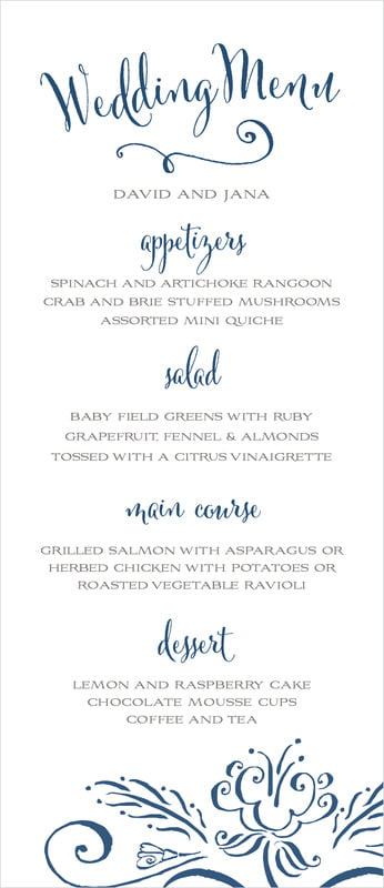 custom menus - navy - jubilation (set of 10)