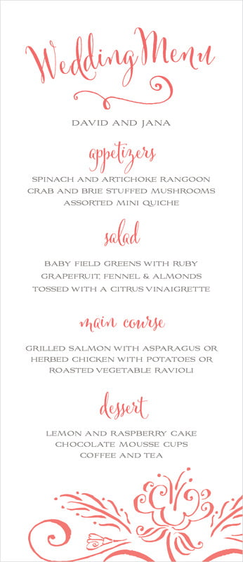 custom menus - deep coral - jubilation (set of 10)
