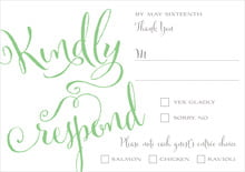 custom response cards - spring green - jubilation (set of 10)