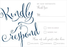 custom response cards - navy - jubilation (set of 10)