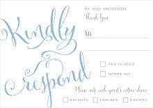 custom response cards - blue - jubilation (set of 10)