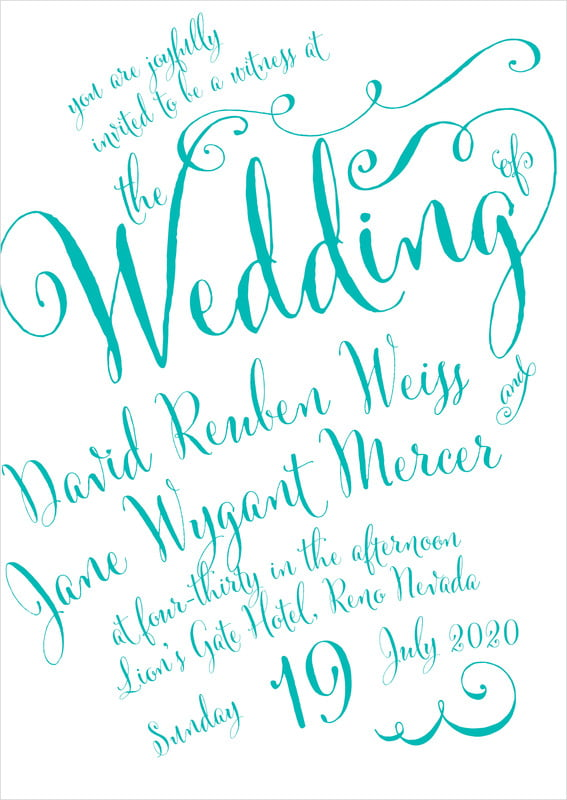 custom invitations - turquoise - jubilation (set of 10)
