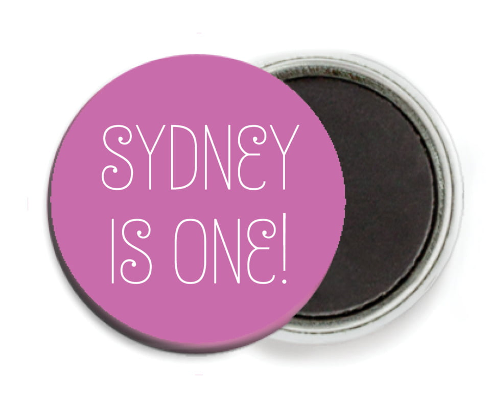 custom button magnets - radiant orchid - jules veneer (set of 6)