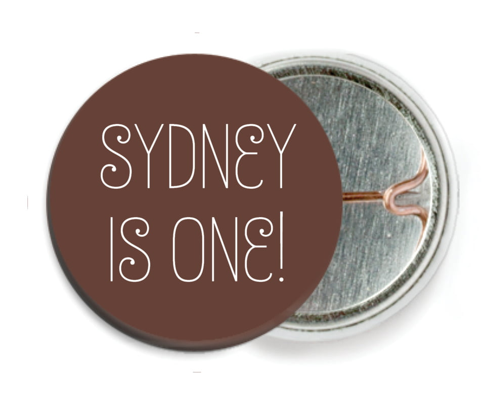 custom pin back buttons - chocolate - jules veneer (set of 6)