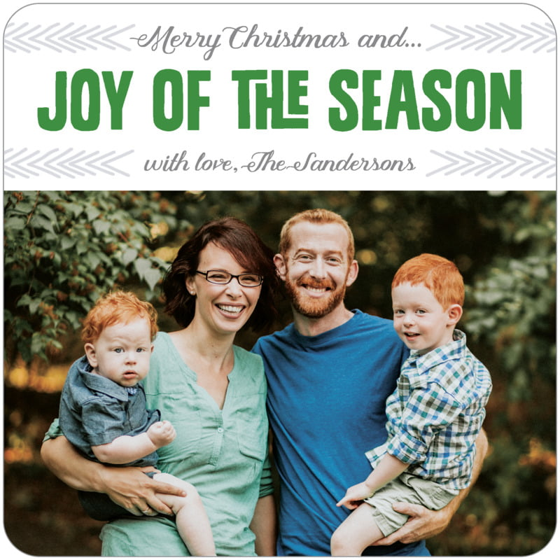 square holiday coasters - deep green - jolly wishes (set of 12)