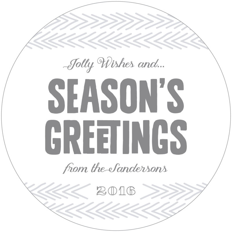 round holiday coasters - dark gray - jolly wishes (set of 12)