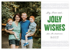 Jolly Wishes Photo Cards - Horizontal In Deep Green