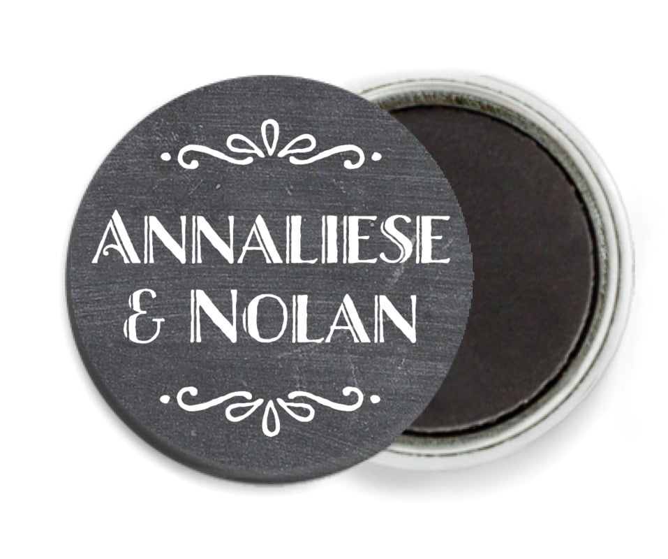 custom button magnets - charcoal - chalkboard holiday (set of 6)