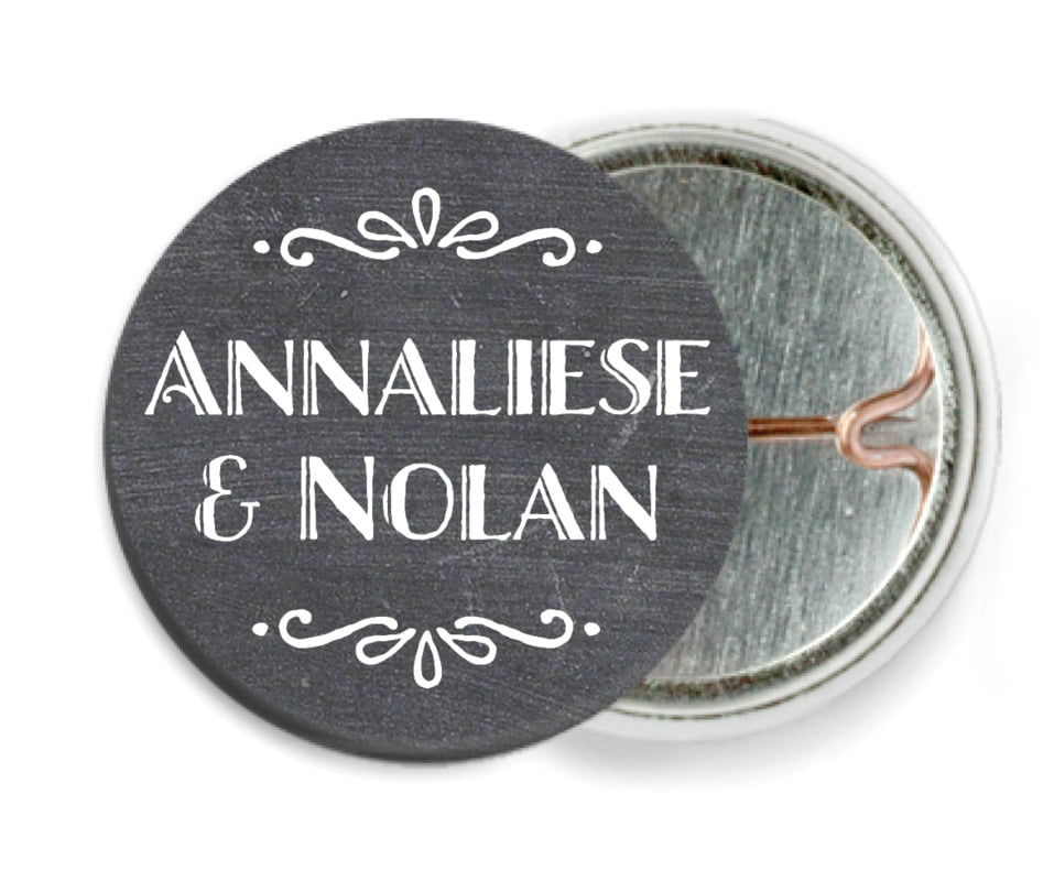 custom pin back buttons - charcoal - chalkboard holiday (set of 6)