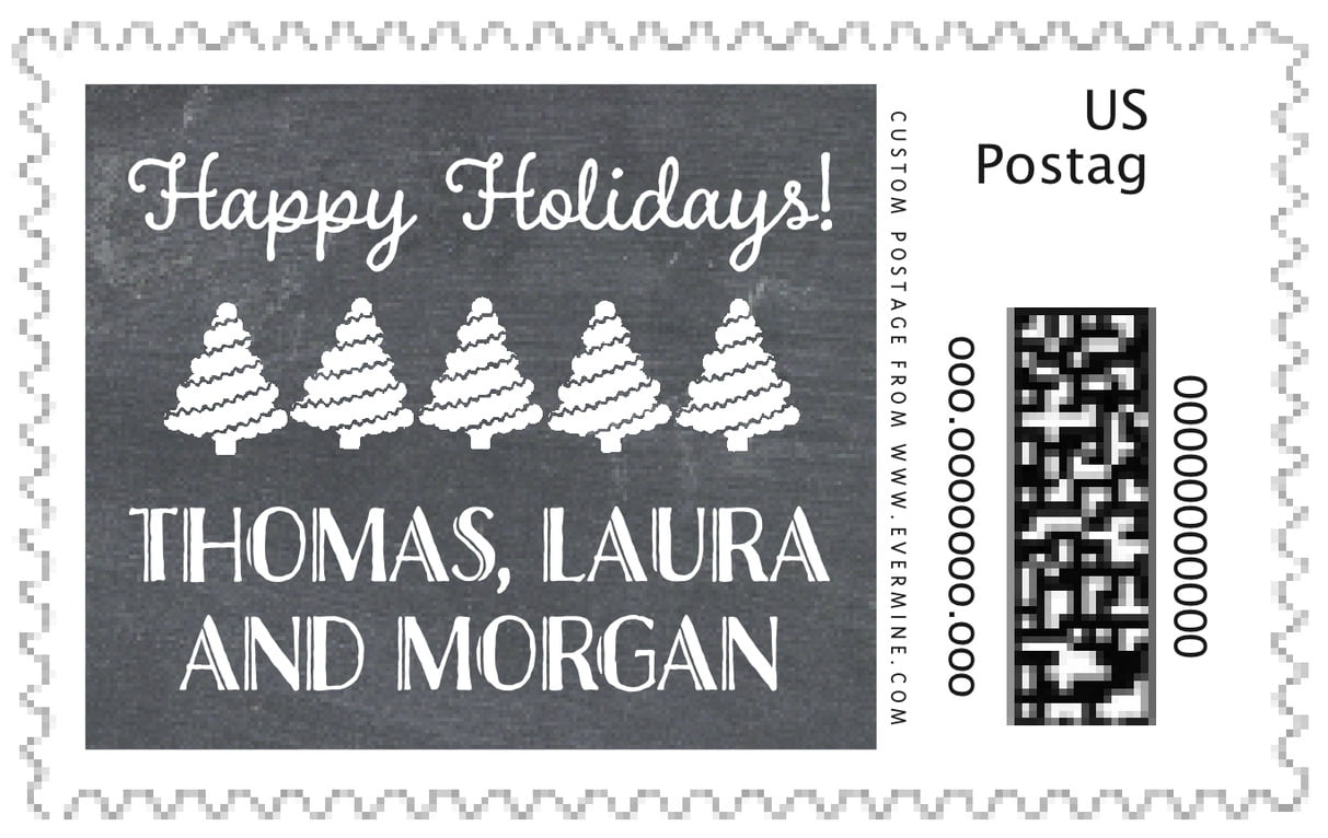 custom large postage stamps - charcoal - chalkboard holiday (set of 20)