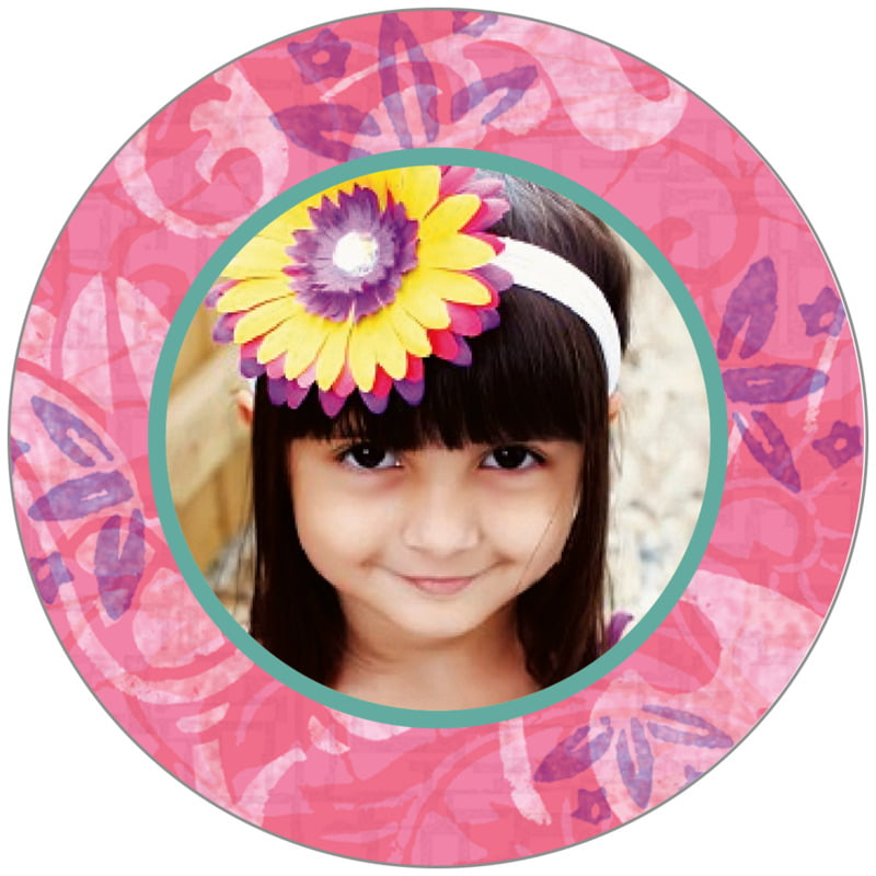 circle photo labels - coral - kashmir (set of 20)
