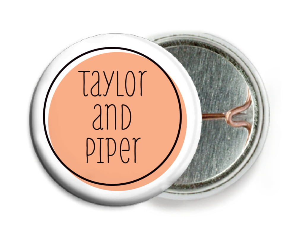 custom pin back buttons - peach - katniss (set of 6)