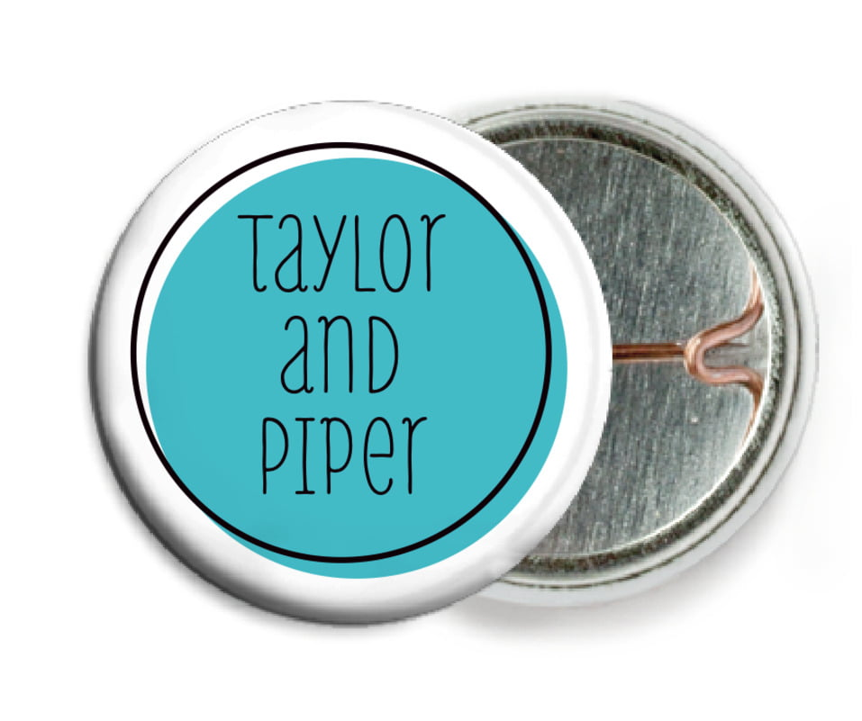 custom pin back buttons - turquoise - katniss (set of 6)
