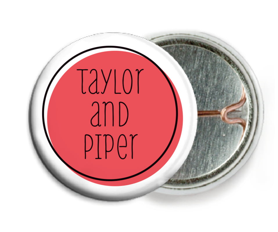 custom pin back buttons - deep coral - katniss (set of 6)