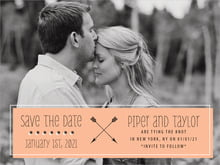 custom save-the-date cards - peach - katniss (set of 10)