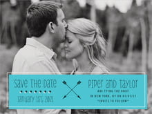 custom save-the-date cards - turquoise - katniss (set of 10)