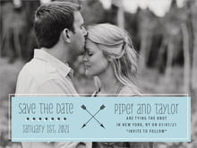 custom save-the-date cards - blue - katniss (set of 10)
