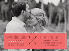 custom save-the-date cards - deep coral - katniss (set of 10)