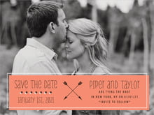 custom save-the-date cards - coral - katniss (set of 10)