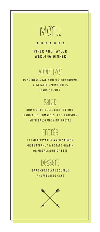 custom menus - chartreuse - katniss (set of 10)