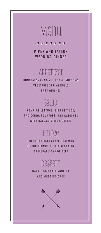 custom menus - lilac - katniss (set of 10)