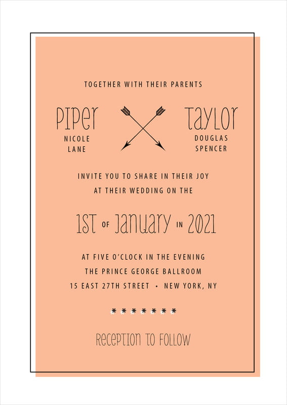 custom invitations - peach - katniss (set of 10)
