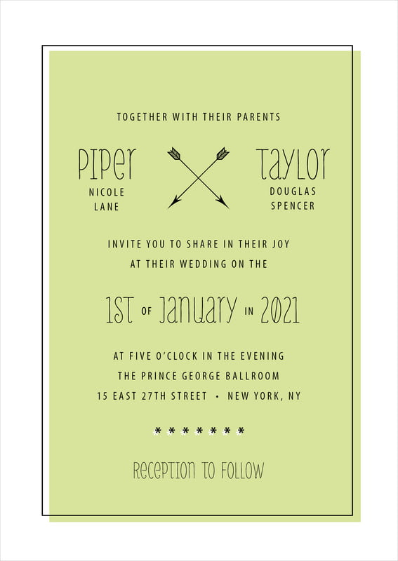 custom invitations - lime - katniss (set of 10)