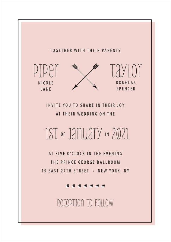 custom invitations - pale pink - katniss (set of 10)