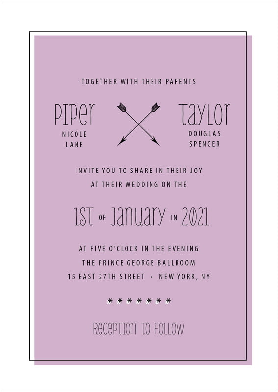 custom invitations - lilac - katniss (set of 10)