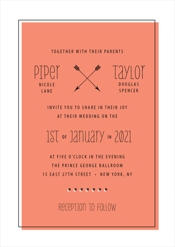 custom invitations - coral - katniss (set of 10)