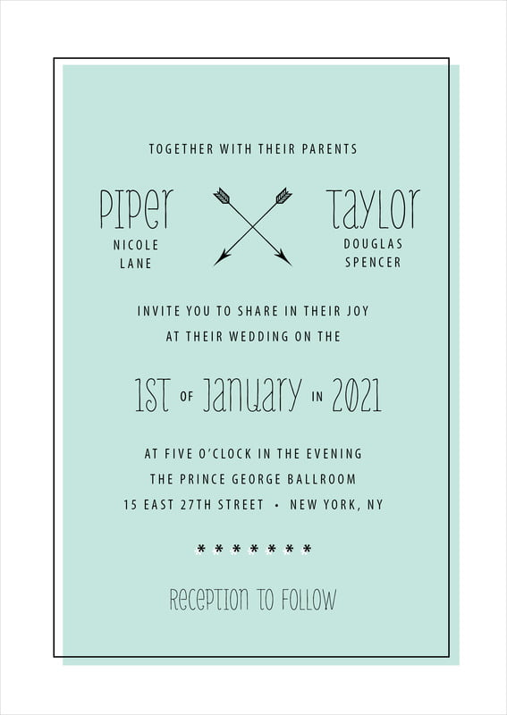 custom invitations - sea glass - katniss (set of 10)