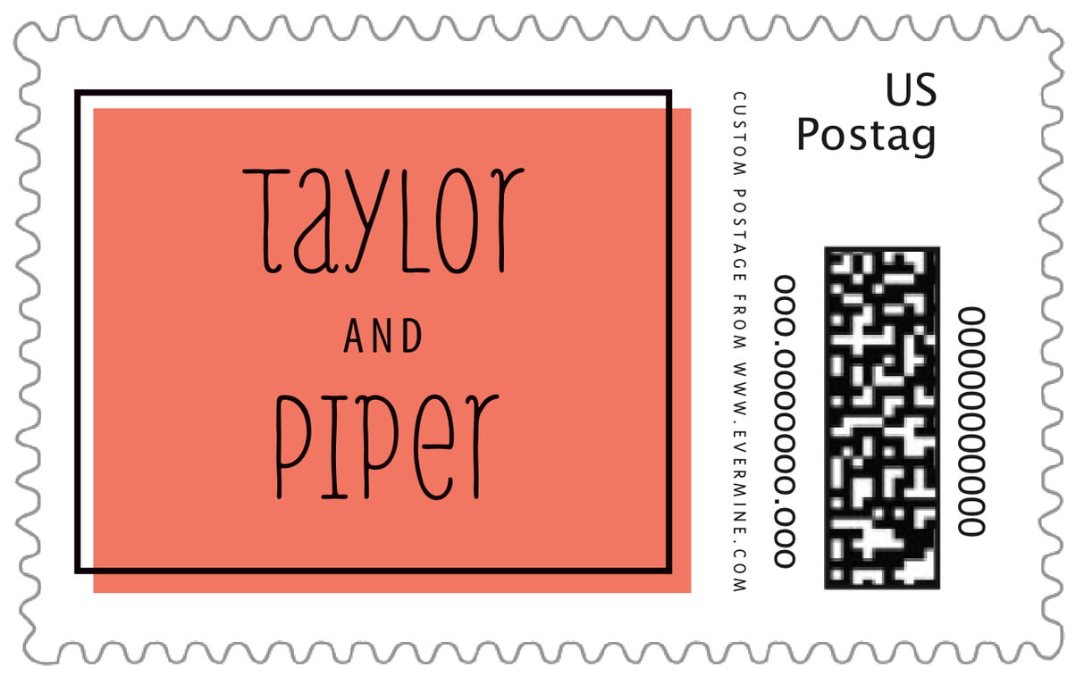 custom large postage stamps - coral - katniss (set of 20)
