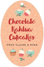 Cupcake Cheer large oval hang tags