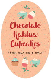 Cupcake Cheer tall oval labels
