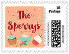 Cupcake Cheer Small Postage Stamp In Peach
